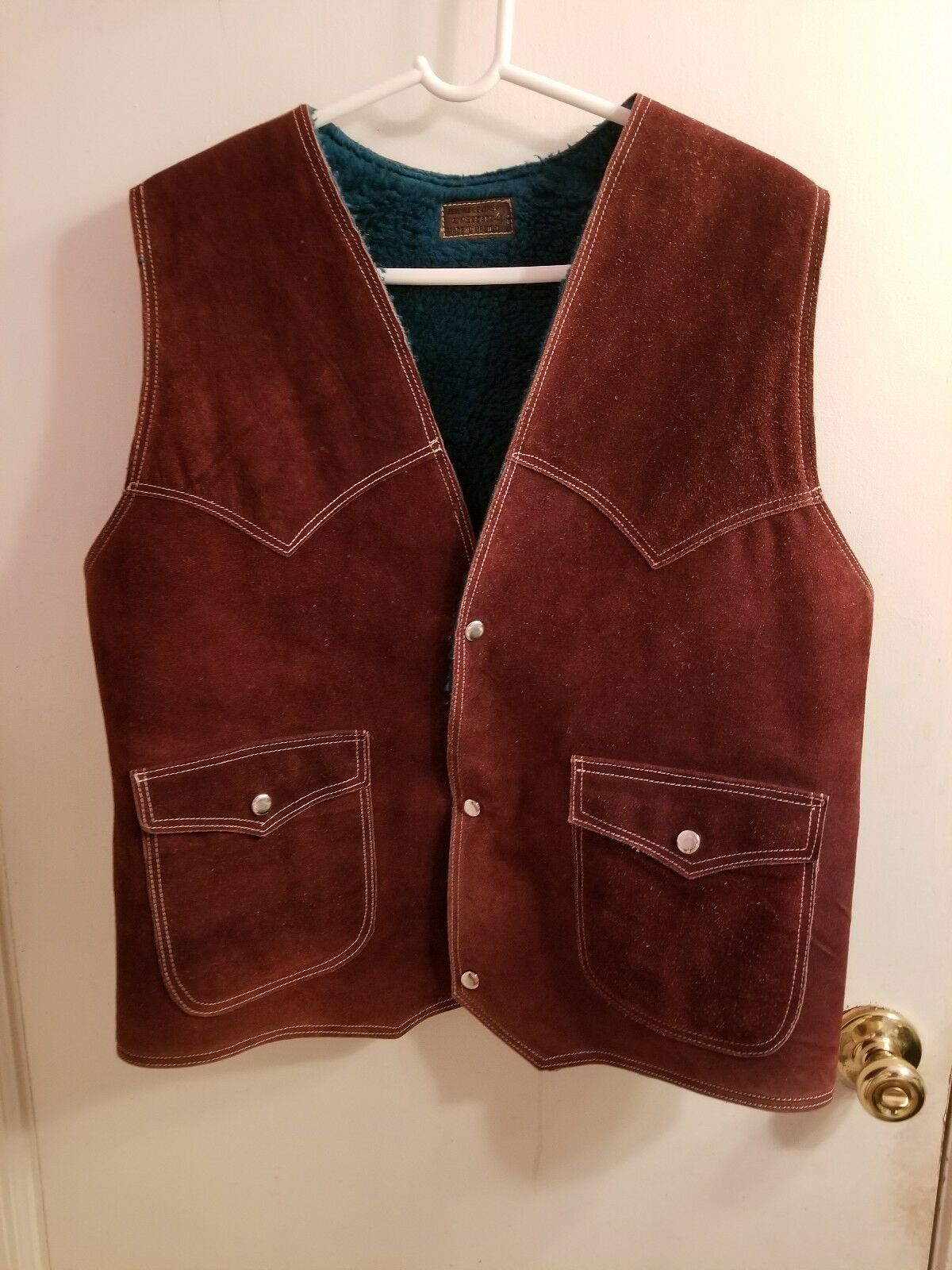 e6859bb22 Men's Leather Suede Western Style Snap Vest Brown Size 46 nctwnr3431 ...