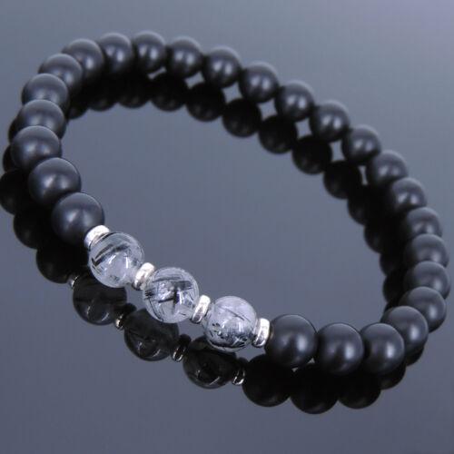 Healing Gemstone Bracelet Matte Black Onyx Rutilated Quartz Argent Sterling 678