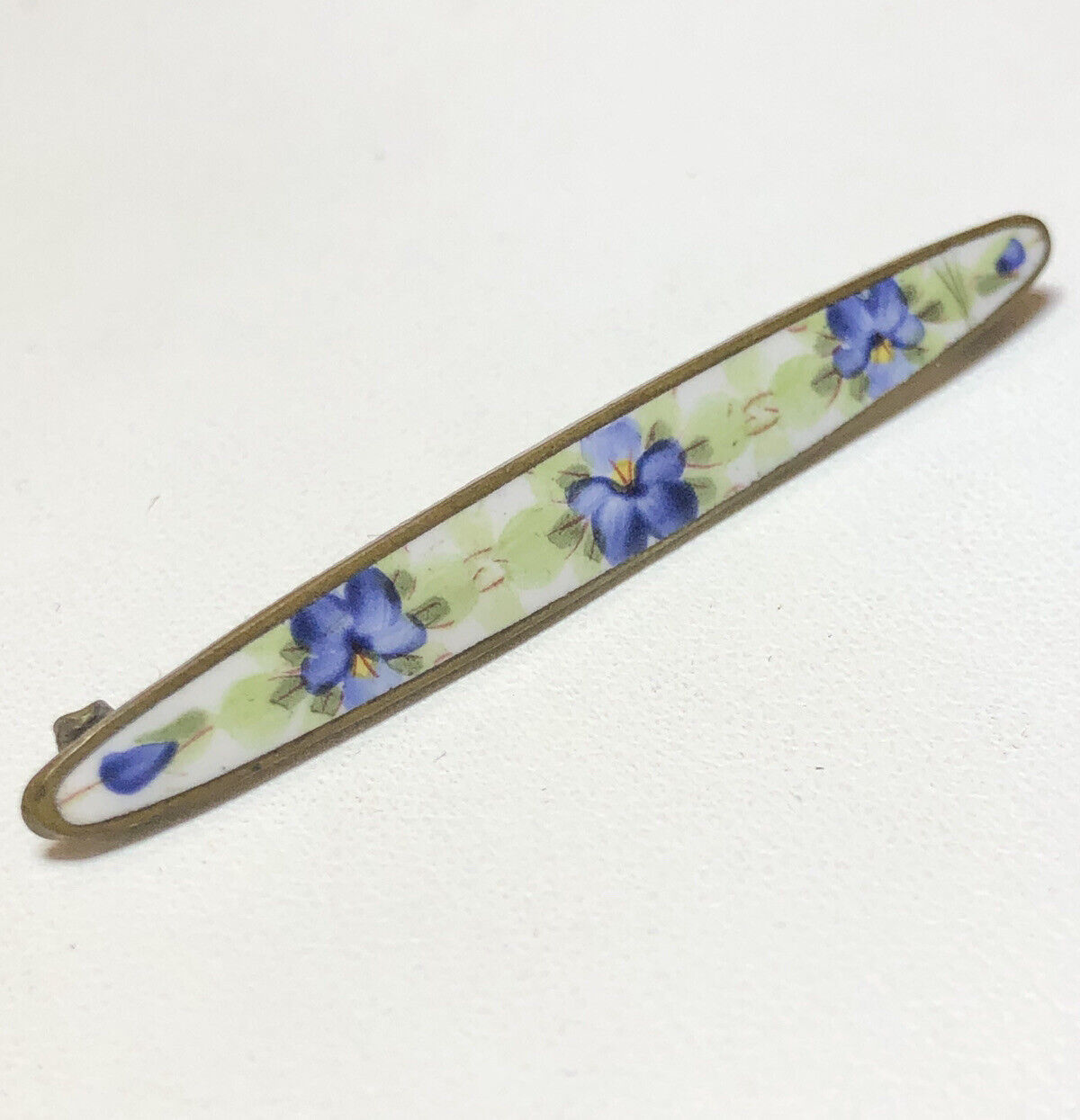 Antique Painted Enamel Pansy Flower Brooch Bar Pin - image 1