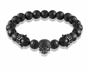 Bead Strand Bracelet Skeleton Skull Crown Lava Rock Stone Buddha Jewelry Fashion