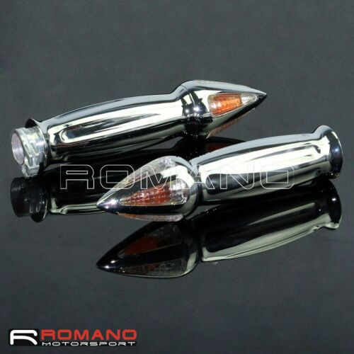 Motorcycle 22mm Handlebar Hand Grips Aluminum Chrome Mounting Turn Signal Light