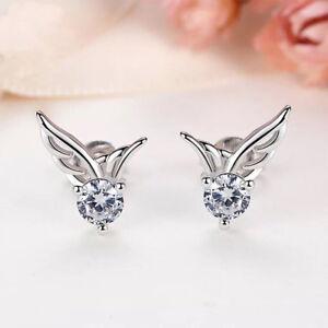 Image Is Loading Women Angel Wing Earrings 925 Sterling Silver Crystal