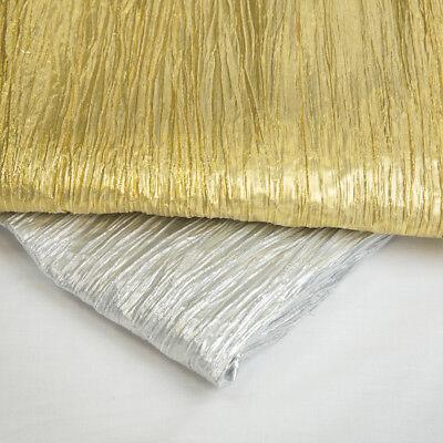 "Crushed Pleated Effect Metallic LAME fabric 48//50/"" Decoration Craft /& Dress"
