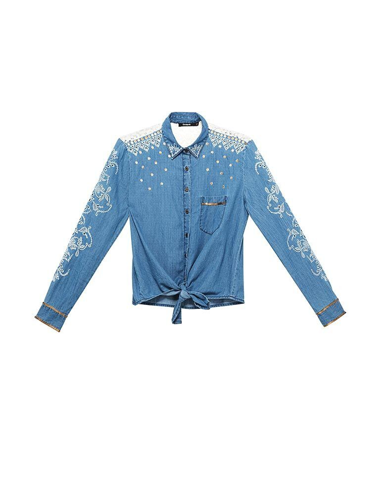 Desigual bluee Denim Laila Shirt Cutaway Embroidery Size XS