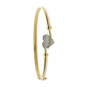 375 9ct solid Yellow Gold Bangle with CZ Heart - 4Gram Ladies ... 7381a3a61096