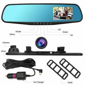 4.3/'/' HD Dual Lens Car DVR Dash Cam Front /& Rear Mirror Camera Video Recorder