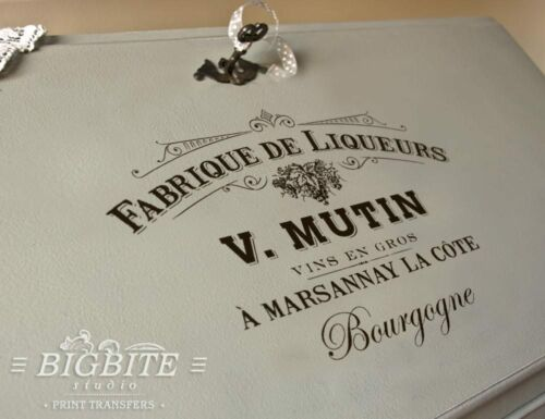 WATER DECAL #005 Furniture Print Transfer Shabby Chic French Liquor Advert