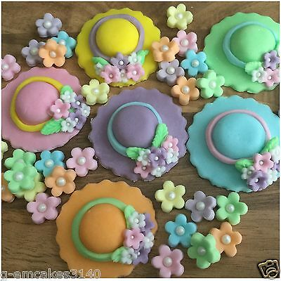 36 Edible Easter Bonnets &  Pastel Flowers Sugar  Cup Cake Decorations  Toppers