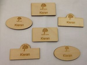 Details about Personalised Engraved wooden Name Badge 75x25mm Office  company logo hotel shop