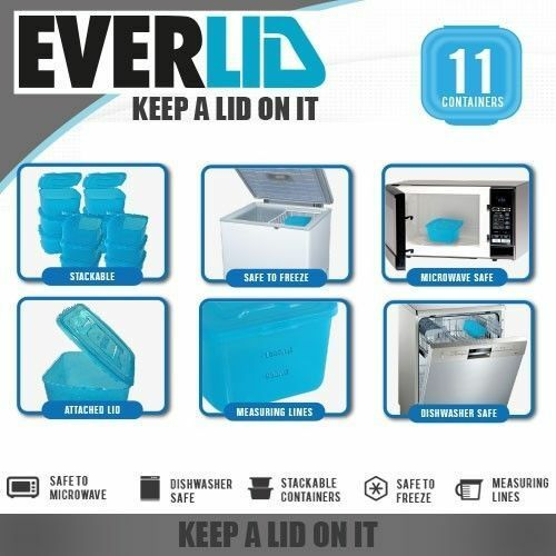 Set Of 11 EVERLID Plastic Food Storage Containers Various BPA Free Blue Or  Clear