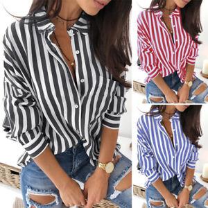 Women Long Sleeve Collared Button Down Stripe Shirt Tunic Tops Blouse Plus Size