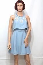 ASOS Petite Embellished Crop Top Skater Party Dress in Light Blue UK10 EU38
