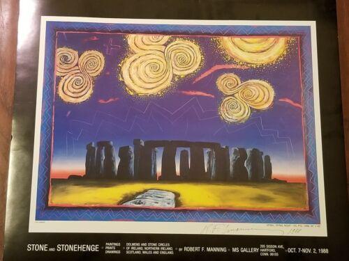 "1988 Hand Signed Irish American Artist Robert Manning /""Stonehenge/"" Exhibition"
