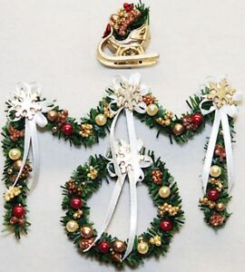 Details About Christmas Garland Wreath Set Gold Burgundy Doll House Shoppe Dhs49120 Miniature