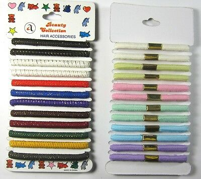 12 PC  RUBBER PONYTAIL HOLDER 6MM THICKNESS 910PAS SCRUNCHIE--912PAS