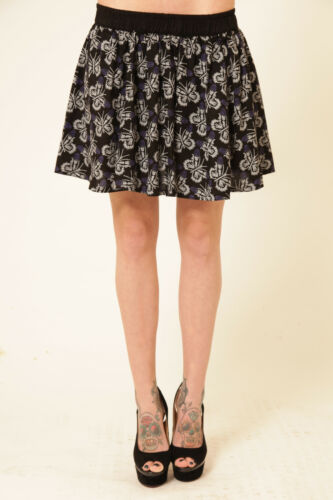 Cold Heart Boney Butterfly Skeleton Black Elasticated Rayon Gothic Short Skirt