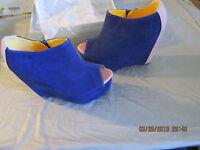 Nwb Fahrenheit Women's Mica Vegan Suede Wrapped Wedge Platform Shoes Navy-pink 7