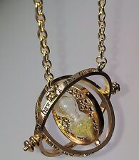 Beautiful Gold timeturner necklace. Hermione Granger/Deathly Hallows.Harry/Ron.