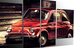 Details About Quadro Moderno Astratto Fiat 500 Olio Su Tela Dipinto A Mano Con Telaio In Legno