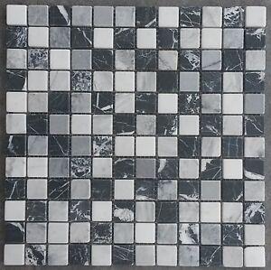 Marmor Mosaik Matte Schwarz Grau Weiss 30x30 Cm Naturstein Fliesen