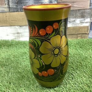 Vintage-Made-In-USSR-Hand-Painted-Vase-Retro-Floral-Soviet-Union-Collectable
