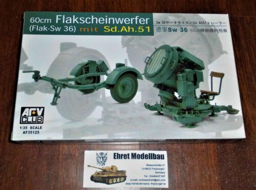 Sd.Ah WWII german 60 cm Flakscheinwerfer SW-36 51 1:35 AFV Club 35125 Neu