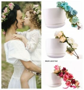 Mom-And-Kids-Bride-Flower-Hair-Garland-Crown-Headband-Floral-Wreath-Hairband-AU