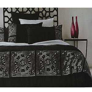 MOROCCO-Faux-Suede-Black-Silver-Quilt-Doona-Cover-Set-QUEEN-KING