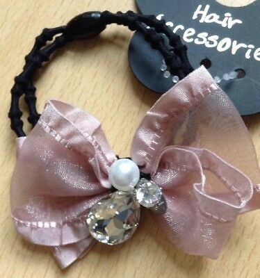 A Pretty Dusky Pink Bow Embellished With A Pearl And Crystals Hair Band//Bobble