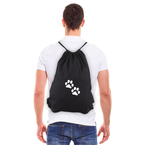 Dog Paw Prints Eco-friendly Reusable Cotton Canvas Draw String Gym Bag Sack