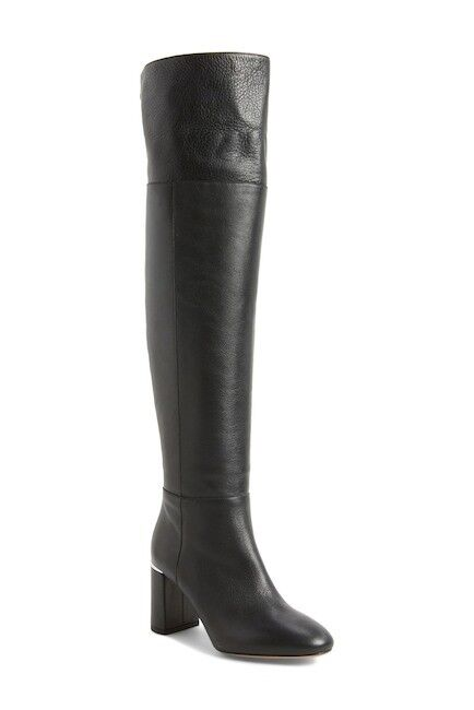 LEWIT Renata Black Leather Cuff Over the Knee Boots Block Heel 38.5 EU 395