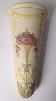 Weller Pottery Roma Floral Wall Pocket Roses w Yellow Swag Vintage Antique 1914