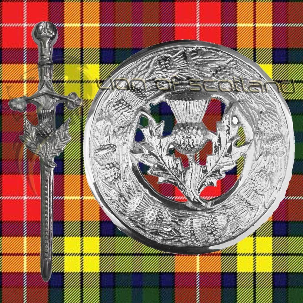 Scottish Kilt Fly Plaid Brooch Thistle Crest 3