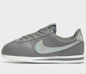 Nike-Cortez-Basic-Women-039-s-UK-Tailles-4-5-amp-5-Gunsmoke-Shiny-dernieres-nouvelles