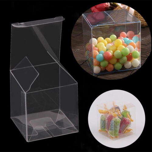 10//50//100X Square Transparent PVC Cube Gift Candy Boxes Clear Wedding Party Decr