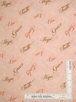 Religious Fabric - Faith Family Love Words To Live By Pch Pink Wilmington - Yard