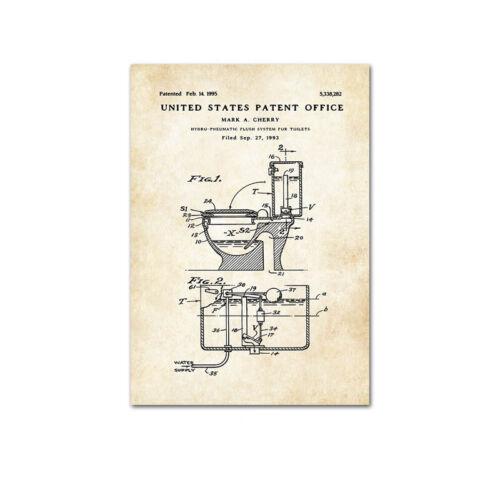 Toothpaste Toilet Paper Patent Poster Vintage Canvas Print Bathroom Decoration
