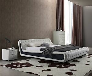 Dorian white with black faux leather modern platform bed for Mobilia king size bed