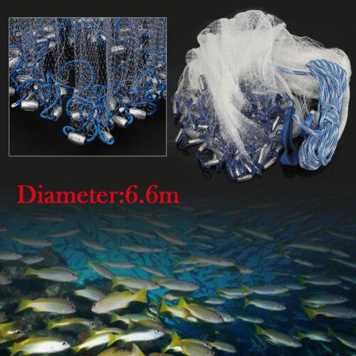 Abfischen Wurfnetz Fisch Gussnetz Fischernetz 22ft 6.6M Fishing casting net