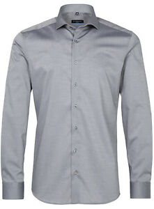 Stretch lunghe di a GrigioPatch da Fit uomo Slim 32 f142 maniche Camicia business Eterna 8888 eWCdrxBo