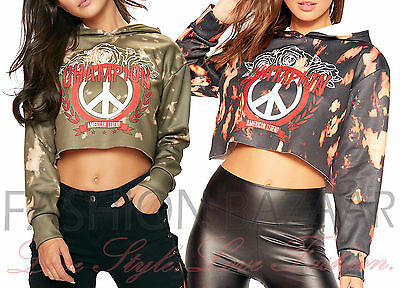 Womens Tie Dye Peace American Legend Champion Sweatshirt Hoody Hoodie Crop Top