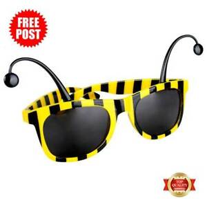Bumble Bee Tinted Sunglasses w Antennas Wasp Insect Bug Costume Fun Tinted