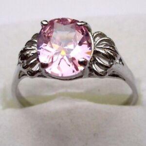 Superbe Bague En Argent 925 Style Vintage Beau Solitaire Zircon Rose Taille 58,5 Soulager La Chaleur Et La Soif.