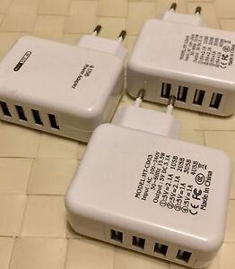 EF 2x Ladegerät 4-fach USB Netzteil Steckdose Ladeadapter Stecker 4USB U