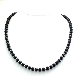 Necklace-natural-black-onyx-round-beaded-gemstone-925-solid-sterling-silver-26gm