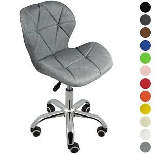 Adjustable Office Chair Cushioned Computer Desk Chrome Legs Small Swivel Green