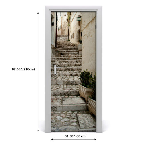 Details about  /Self adhesive Door wrap removable Peel /& Stick Architecture A charming street