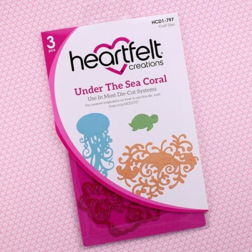 HCD797+HCPC3737 Lot Set Heartfelt Creations Dies+Stamp Set Under The Sea Coral