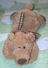 Mary Meyer Brown Floppy Teddy Bear w Gingham Neck Ribbon & Suede Paws EUC 16""
