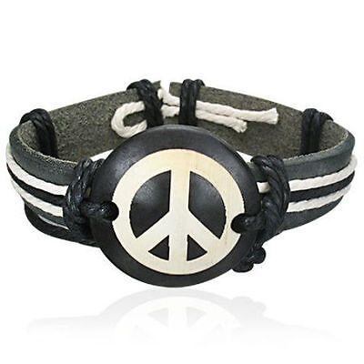 Lederarmband  Armband mit Peace Zeichen  Leder  Surferarmband L26